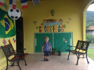 His new preschool - which he seems to love!