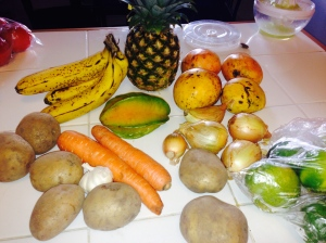 About $4 worth of fresh fruits and veggies