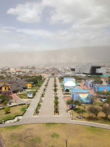 A dusty day in Mitad del Mundo.
