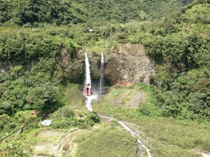 A waterfall and a cable car you can cross the ravine in