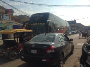Traffic jam, main street Mancora.