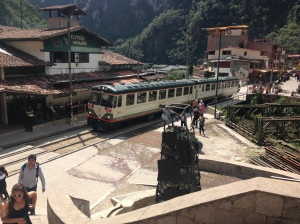 The train that we couldn't afford coming into Aguas Calientes.